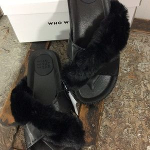 Slip Ons Sandals With furry Top Size 9